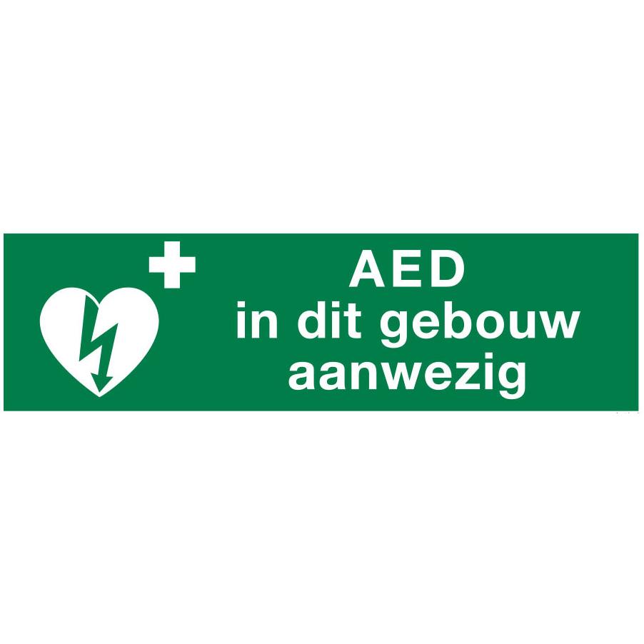 AED aanwezig sticker voor binnen 30x10 cm € 5.34