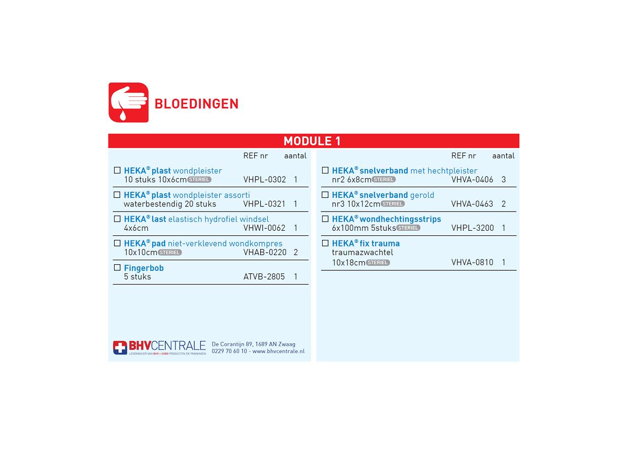 Navulling modulekoffer - module 1, bloedingen € 17.82
